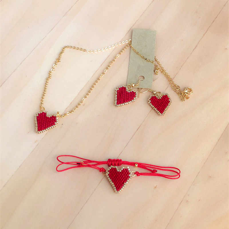 Go2hobo MIYUKI Jewelry Sets Red Heart Bracelet For Women Jewelry Sets Gold Chain Necklace Stud Earrings Handmade Woven Girl Gift