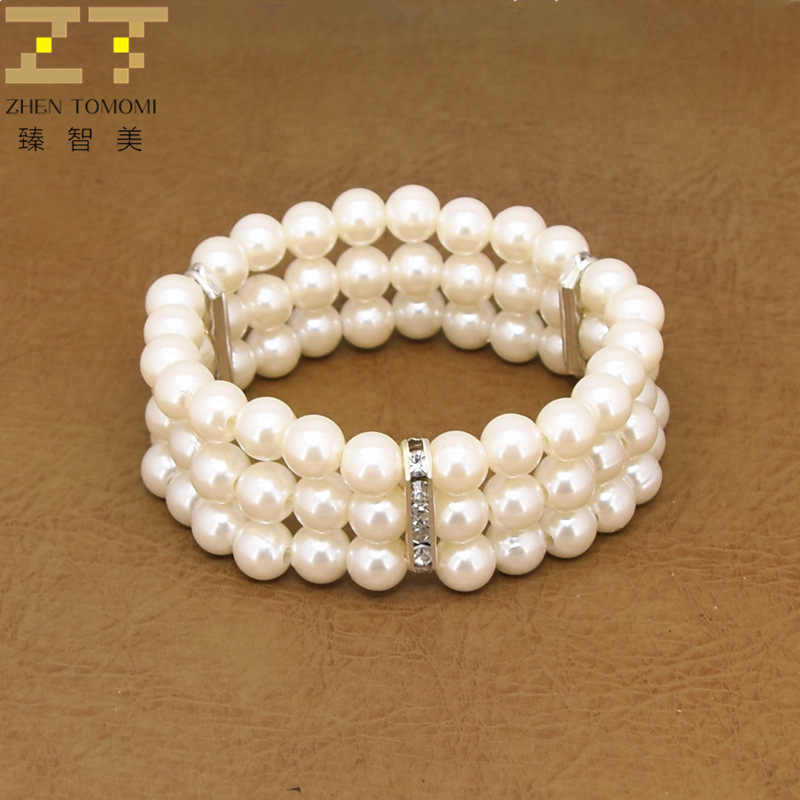 Hot New Fashion Elasticity Bracelet Simulated Pearl Multilayer Beaded Charm Wide Cuff Bracelets Bangles For Women 2018 Jewelry