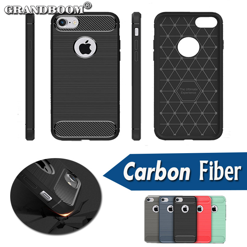 imágenes para GRANDBOOM Robusta Armadura Híbrido De Fibra De Carbono A Prueba de Golpes Cubierta de la Caja Flexible para el iphone 7 Plus 6 6 S 5 Samsung S8 5S plus 10 unids/lote