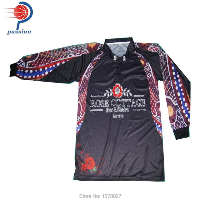 Performance 100 polyester dye sublimation long sleeves for Polyester fishing shirts
