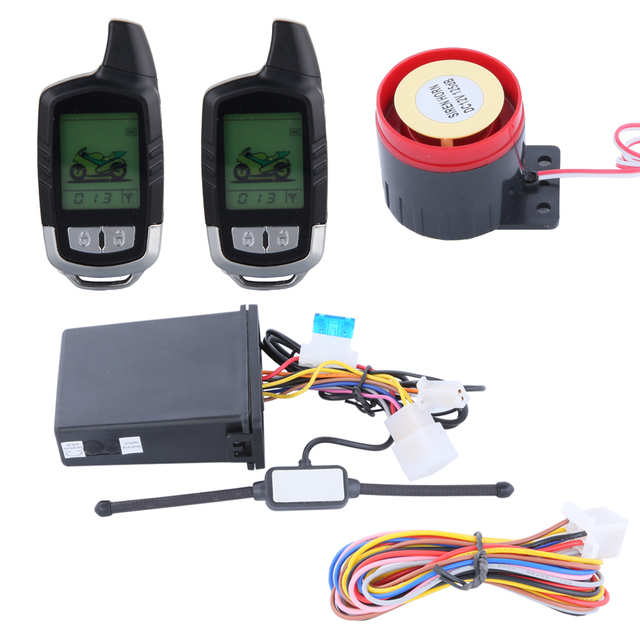 quality  LCD display two way motorcycle alarm system with remote engine start long remote distance
