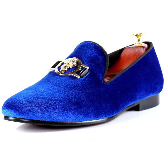 Harpelunde Blue Shoes For Men Buckle Strap Flats Velvet Loafers Size 7-14 ef104f93e6d6