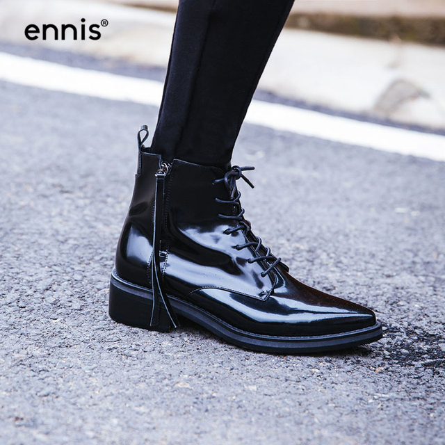 32a147183ae56 ENNIS 2018 Fashion Black Patent Leather Ankle Boots Square Low Heel Pointed  Toe Lace Up Booties Zipper Autumn Winter Shoes A7169
