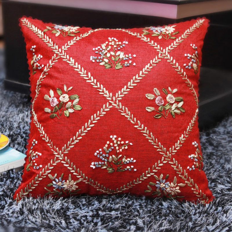 Online get cheap ribbon embroidery pillow aliexpress