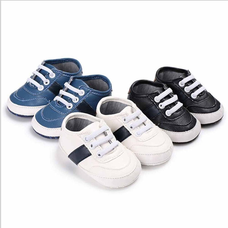 Baby Boys Girls Soft Sole Crib Lace-up Shoes PU Leather Anti-slip Shoes Toddler White Casual Sneakers First Walker 0-18M