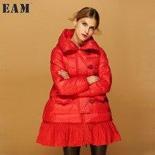 [EAM] 2017 nova outono inverno com capuz de manga comprida cor sólida solto preto morno mulheres casaco maré jaqueta moda JA98901S