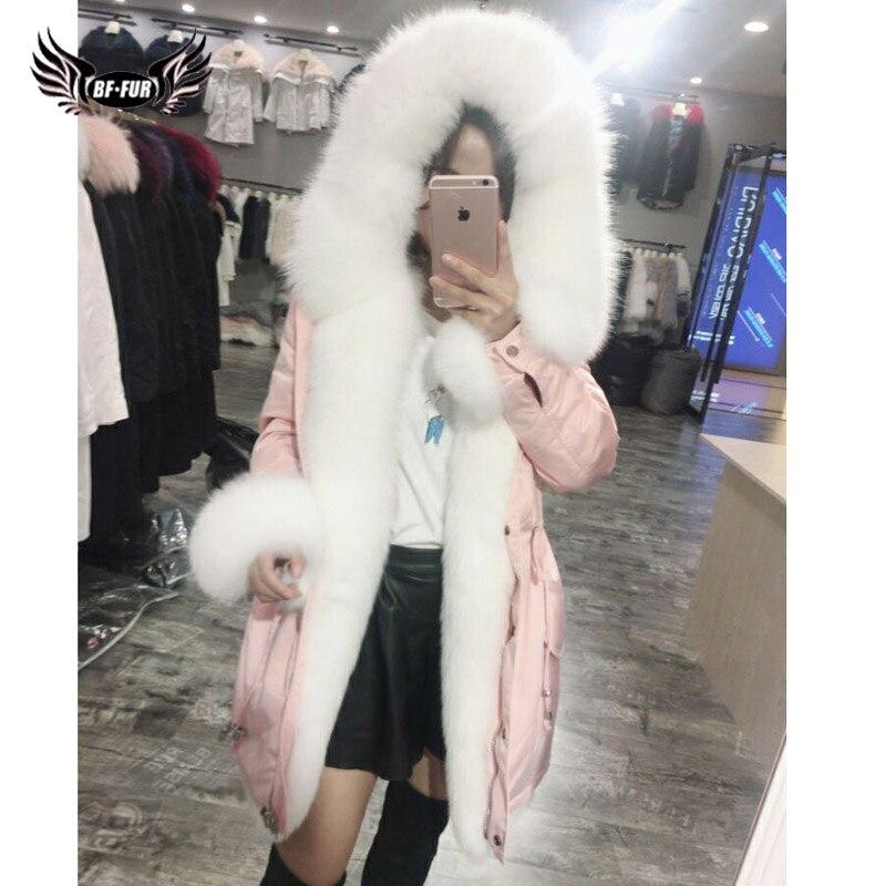 BFFUR Parka d'hiver pour femmes de qualité supérieure avec manteau de fourrure véritable naturel peau entière veste de fourrure de renard Parka vraie fourrure épaisse à capuche chaude