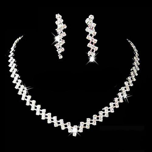 Women Necklace Earring Set Bridal Wedding Prom Jewelry Shiny Rhinestone Elegant stainless steel jewellery sets for women gift