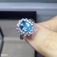 KJJEAXCMY fine jewelry 925 sterling silver and natural blue topaz ring is simple and bold