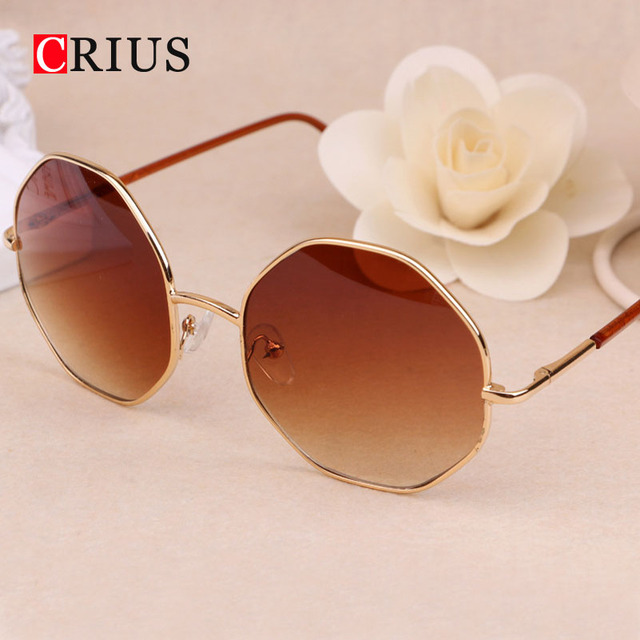 Women's sunglasses for man blue lens Hexagon color film retro sun glasses brand vintage band Metal alloys Mirror 2016 new