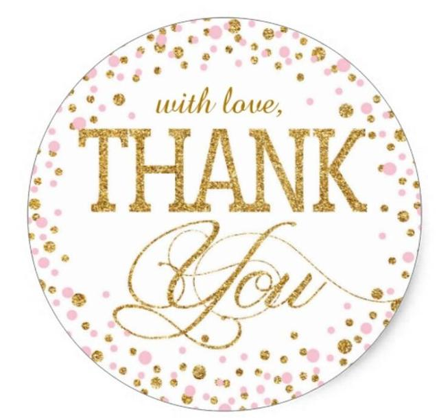 1.5inch Gold and Pink Sprinkle Thank You Label Classic