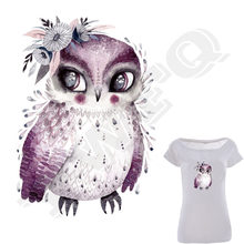 Watercolor Owl Iron-On Transfer A-Level Washable Parches Ropa T-Shirt Diy Decoration Easy Print By Household Irons Patches(China)