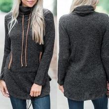 цена на Women Hoodie Dark Gray solid Stand Sweatshirt Long Sleeve Pocket Drawstring Pullover Top Blouse  L0724