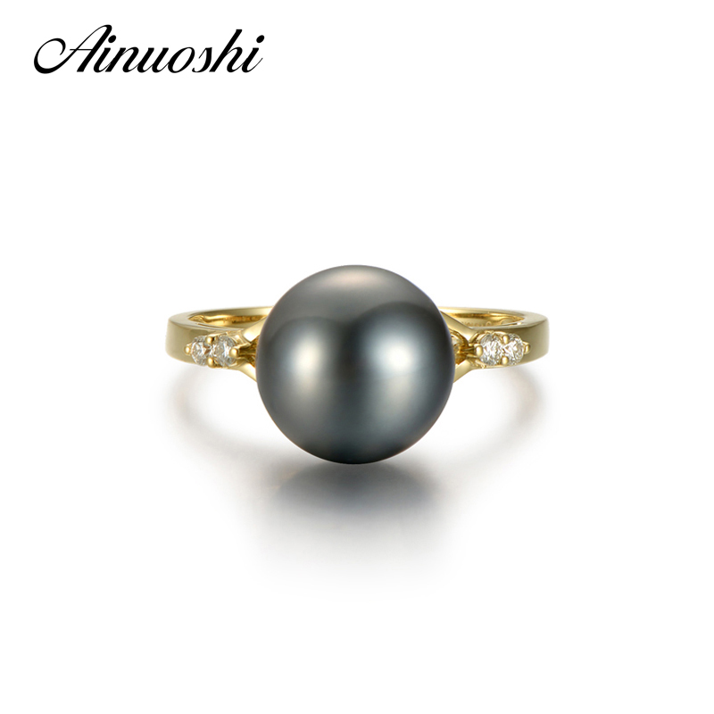 AINUOSHI 10mm Black Tahitian Cultured Pearl Ring 925 Sterling Silver Ring Engagement Yellow Gold Color Round Pearl Jewelry daimi 10 10 5mm black tahitian pearl ring 925 sterling silver ring luxury jewelry