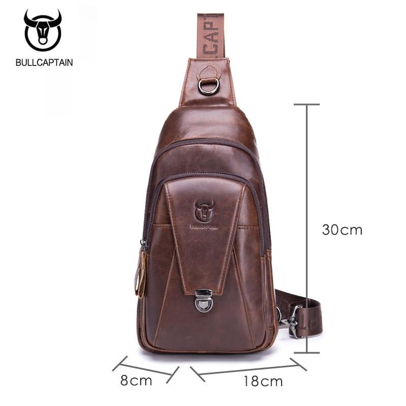 BULLCAPTAIN Genuine Leather Crossbody Bags for Men Messenger Chest Bag Packs Travel Single Shoulder Strap Pack 2018 New Fashion in Waist Packs from Luggage Bags