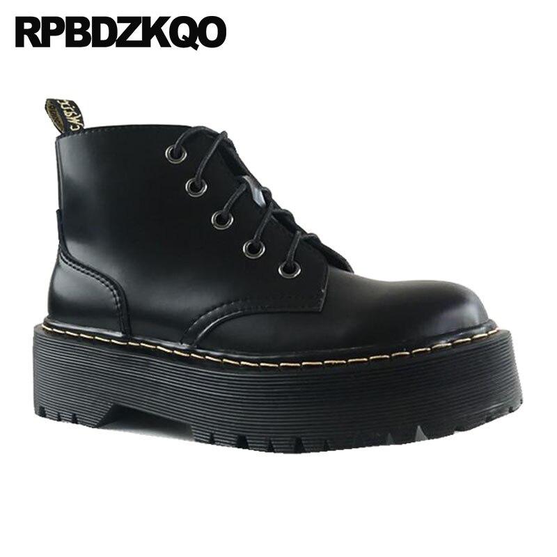 Avant À Rond Bout Bottes Femmes Militaire Casual Taille Chaussures Automne Plate Main Bottines Cheville Noir 10 Combat Grand La Lacent Wedge forme rqrZxS6vw