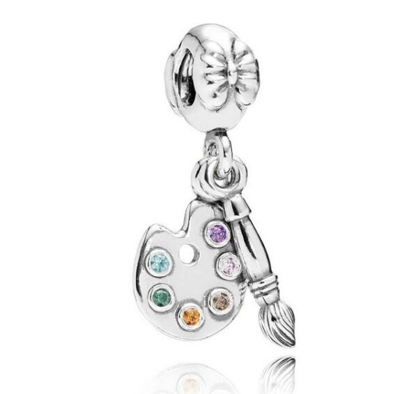 Authentic 925 Sterling Silver Bead Charm Cute Artists Palette With