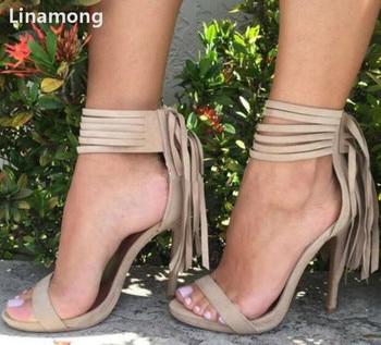 Summer New Fashion Women Suede Fringe Sandals Fashionable Back Tassels Weave Ankle Strap Open-Toe High Heeled  Sandals Shoes
