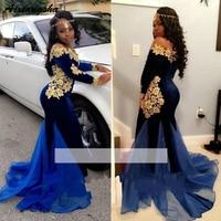 Royal Blue 2019 Prom Dresses Mermaid Long Sleeves Lace Velvet Gold Appliques Long Prom Gown Evening Dresses Robe De Soiree