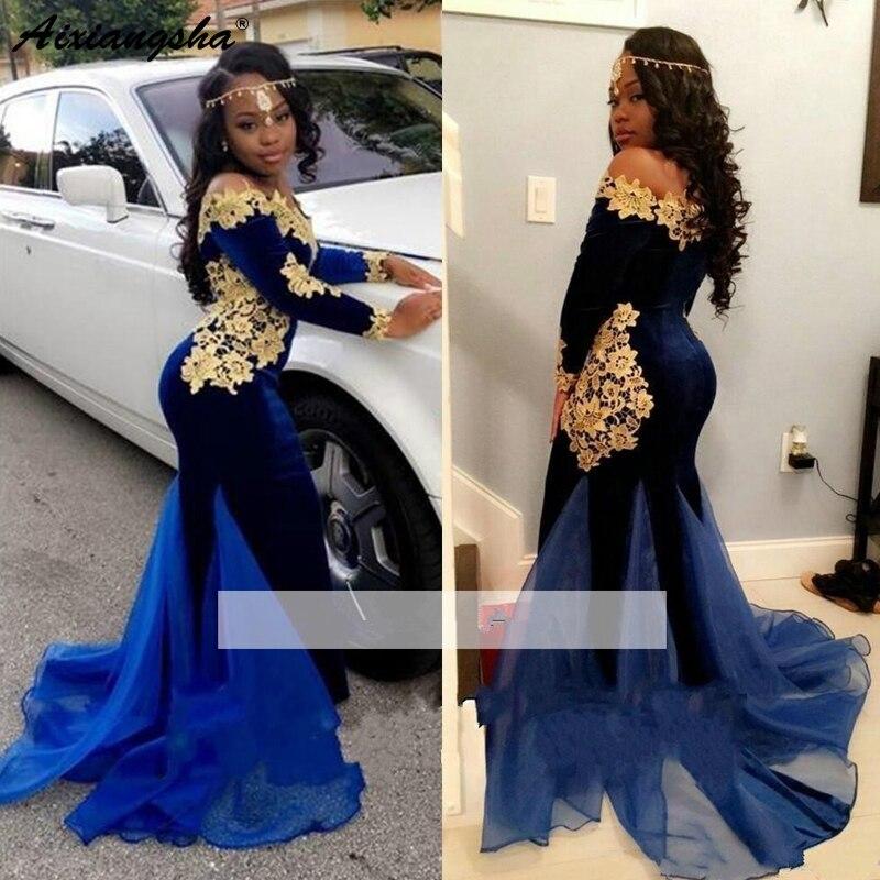 Royal Blue 2019 robes De bal sirène manches longues dentelle velours or Appliques longue Robe De bal robes De soirée Robe De soirée