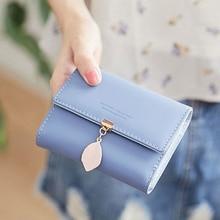 korean fashion Leaf women short mini wallet pu leather zipper coin small purse trifold slim cute solid hasp clutch 2019 new sale