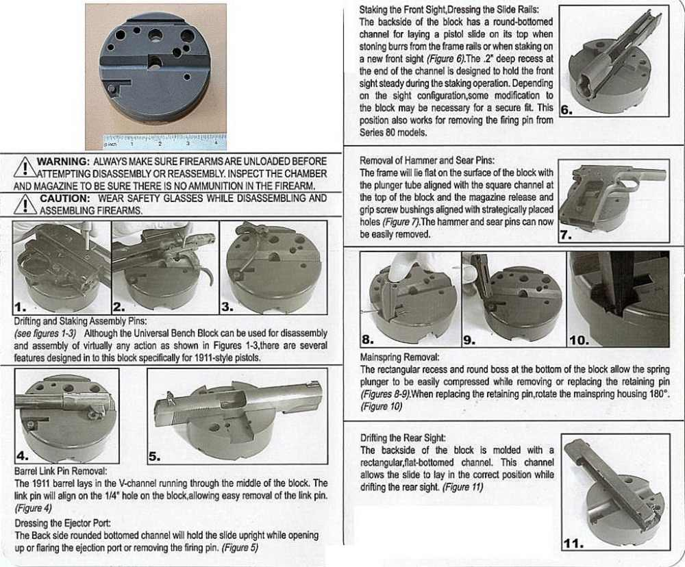 Universal Gunsmithing Bench Block Handgun Pistol M1911 Ruger 10/22s Style  Reassemble Firearm Assembly Bench Block