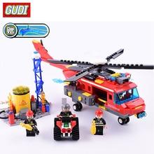 GUDI 9217 Blocks Large Fire Rescue Compatible LegoINGlys Building Blocks Fire Station Helicopter Truck Block Toys For Children
