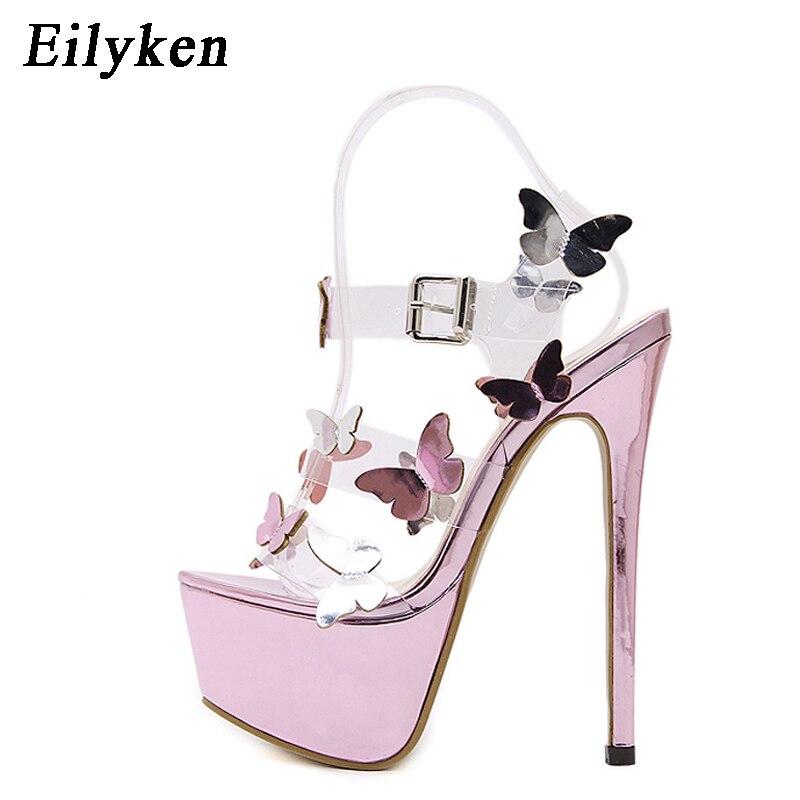 Eilyken Gladiator Sandals Ankle Strap Platform Sandals Women Flower Transparent Women Pumps 17CM Summer Sexy Purple Woman Sandal-in High Heels from Shoes