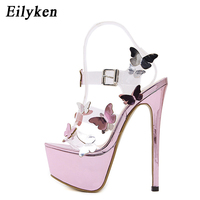 Eilyken Gladiator Sandals Ankle Strap Platform Sandals Women Flower Transparent Women Pumps 17CM Summer Sexy Purple Woman Sandal