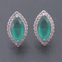 100% 925 Sterling Silver Green CZ Stud Earrings For Women Wedding Birthday Party Fine Earring Jewelry