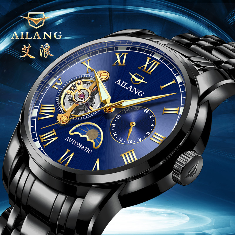 AILANG top brand mens stainless steel wristwatches automatic mechanical luxury man watches waterproof moon phase male clocks mens watches mechanical automatic stainless steel waterproof man wristwatches fashion hollow oubaoer brand luxury men s clocks