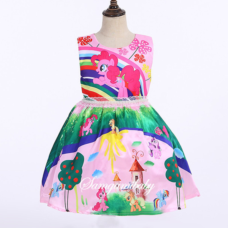 2017 new summer dress girls dress of my pony spring girl sleeveless dresses my girls princess dress for the little pony my little pony party of one
