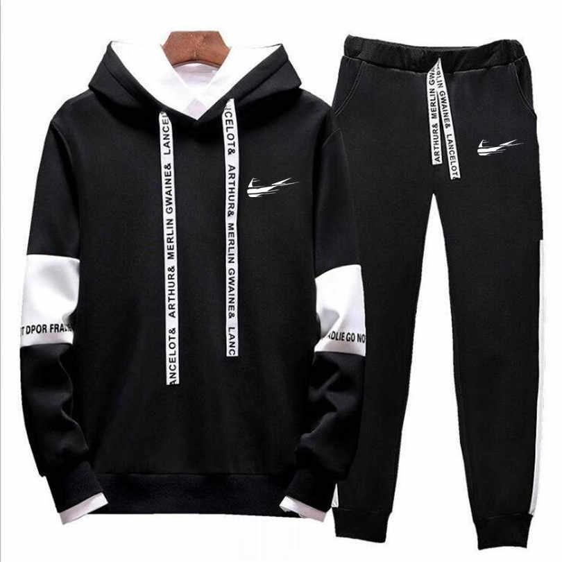 24a0a8540b421 Новый брендовый спортивный костюм для мужчин термобелье Мужская спортивная  одежда флисовая Толстая толстовка + брюки спортивный