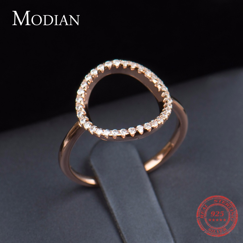 Classic Fashion Hollow Out Hoop Sparkling White And Rose Ring Cubic - Mote smykker - Bilde 6