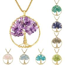 SUNYIK Natural Crystal Tree of Life Pendant for Necklace,Healing Gold Tone Wire Wrapped Tumbled Stone Chips Reiki Women Jewelry цена 2017