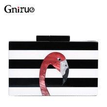 Kadın askılı çanta marka moda cüzdan avrupa lüks çanta zarif siyah beyaz kadın şerit akrilik Flamingo rahat debriyaj