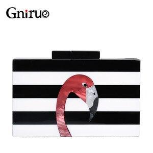 Image 1 - Kadın askılı çanta marka moda cüzdan avrupa lüks çanta zarif siyah beyaz kadın şerit akrilik Flamingo rahat debriyaj