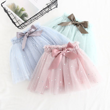 цены на Summer Baby Girls Star Tulle Skirt Elastic Waist Bow Princess Party Mesh Tutu Skirts Children Ball Gown Pettiskirt Kids Clothes  в интернет-магазинах