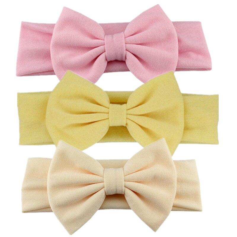 Новинка года; хлопковая эластичная однотонная повязка на голову с бантом для новорожденных девочек; Детская повязка для волос; повязка на голову для младенцев; Бандо; bebe