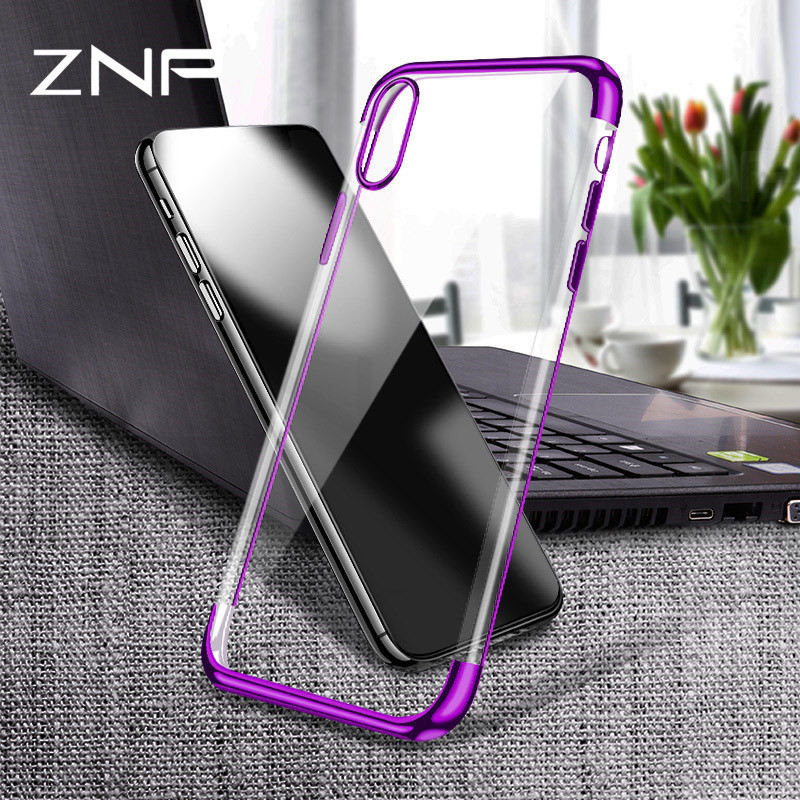 ZNP soft TPU case for iPhone X 8 7 6 6s Plus cases ultra thin transparent plating shining case for iPhone 7 Mixed silicon cover