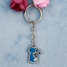 цена на Hot Sale Drop Glaze Rhinestone Cat Keychain For Lovers Zinc Alloy DIY Fashion Enamel Keyring For Car Key Chain The Birthday Gift