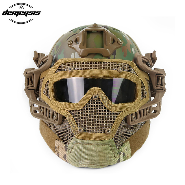 Airsoft Helm Paintball Full Face Militaire Beschermende Gezichtsmasker Tactische Camouflage Masker Volgelaatsmasker Snelle Helm Met Masker