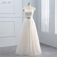 New Design Simple Light Wedding Dress O neck Floor Length Natural Waistline Soft Tulle With Beading Bow Sashes Vestido de noiva