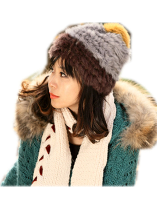 H379- Fashionable autumn winter women's  hat with fur ball .brown/yellow/gray cap of rabbit fur knitted