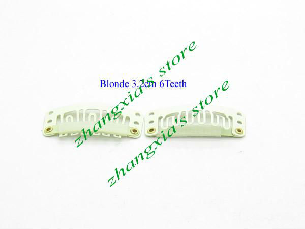 3.2cm 6 Teeth Hair Clips for Hair Extensions,Toupees Clips,Wig Clips,Hair Extensions Tools,Blonde Color,100pcs,Free Shipping