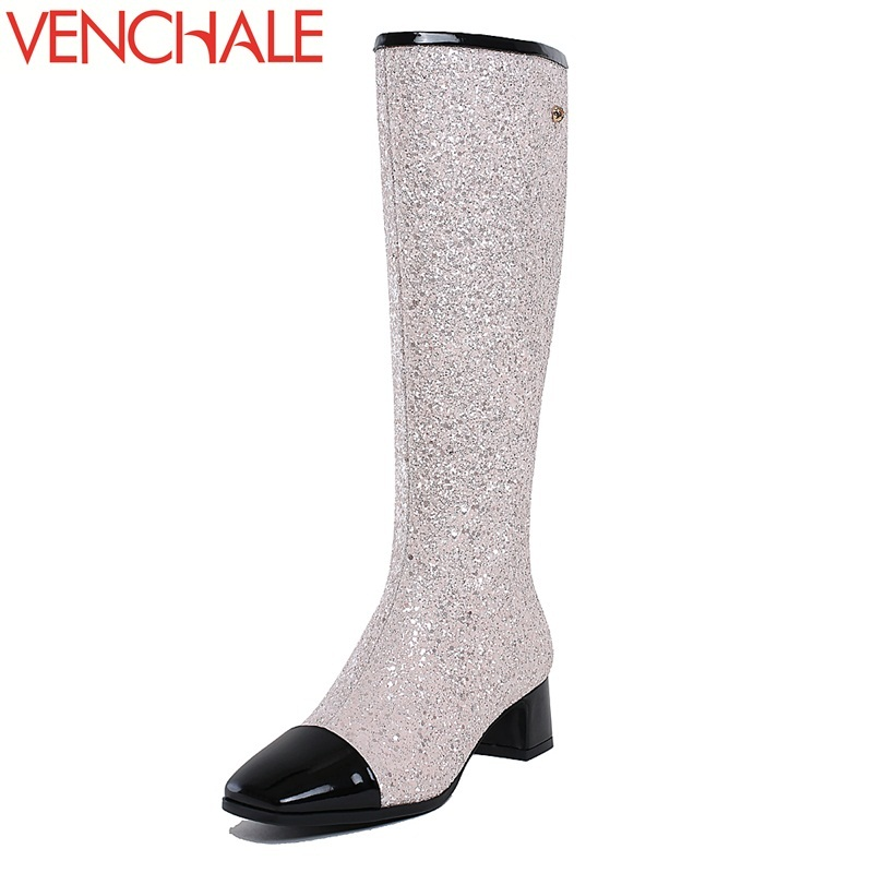 VENCHALE 2017 new knee-high boots fine workmanship square toe lengthen the leg line high-end and elegant modern women boots fine shadow 1g gtx460 ashes 384sp 256 high end gaming graphics