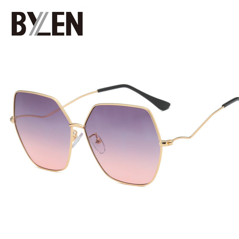 Tinted Sunglasses Polygon Frame Gradient Vintage For Men Women Retro Eye-wear