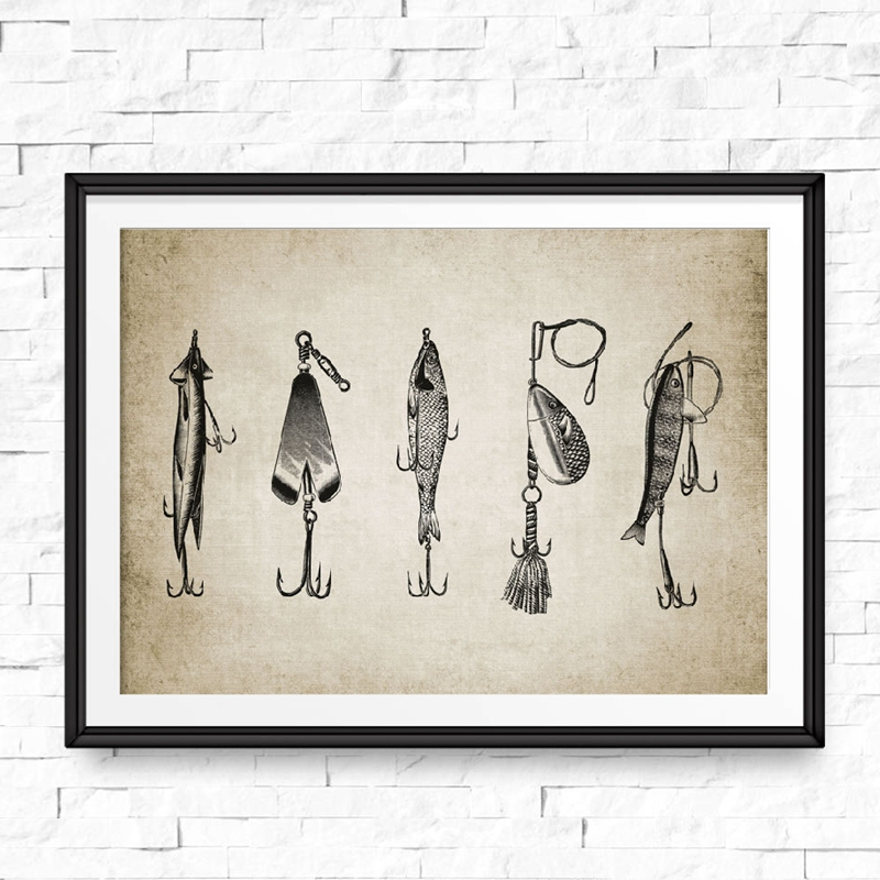 Vintage Fishing Lure Wall Art Canvas Posters Prints Fishing Lure Illustration Painting Angling Wall Picture Home Decoration