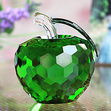 5cm Crystal Apple Paperweight 6 Colors Glass Crafts Decoration Art Collectibles