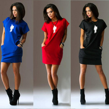 цена на Women Summer Dress Womens Short Sleeve Shirt Dress Loose Party Dress Vestidos Femininos